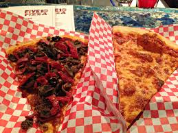 A slice of the namesake special and a slice of cheese from Oakland s Five10 Pizza