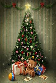 Laeacco Christmas Tree Gifts Balls Toy Bear Stripes Wall Photography Backgrounds Vinyl Custom Camera Backdrops For