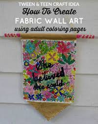 How To Create Fabric Wall Art Using Adult Coloring Book Pages