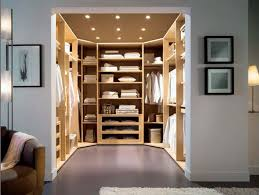 interior u shaped walk in coset design ideas with six rods opened