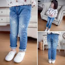 Korean Fashion Girls Jeans Kids Pants Baby 2015 Spring Flower Denim Trouser Children Girl Dress Blue Color Ripped Skinny