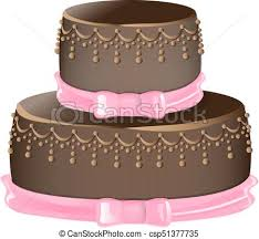 Chocolate Cake Isolated A White Background Vector