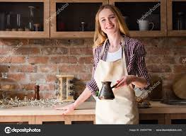 Woman Apron Making Coffee Morning Home Kitchen Stock Photo