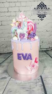 Drip cake Unicorn pink and purple pastel cake with glitter by Tina