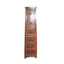 Handpainted Moroccan 6 Drawer Storage Tall Cabinet Red