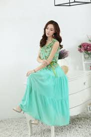 korean casual women floral printing green chiffon maxi dress