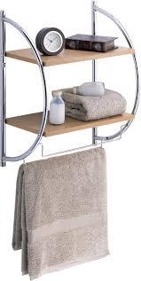 Bathroom Wall Shelves With Towel Bar by Neu Home 2 Tier Wood Mounting Shelf W Towel Bars Home