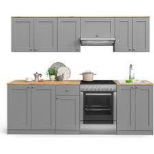 vicco küchenzeile cambridge 240cm landhaus stil einbauküche komplettküche küche grau