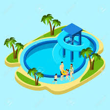 Family At Water Park With Slides And Swimming Pool On Blue Background Isometric Vector Illustration Stock