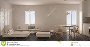 unbedeutendes skandinavisches wohnzimmer mit küche und