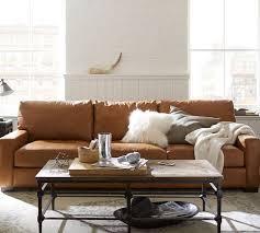 quick ship turner square arm leather sofa pottery barn