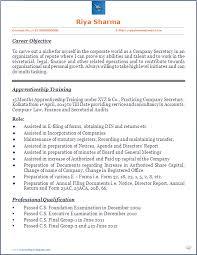 Company Secretary Resume Templates Blog Co Cs Trainees Beautiful