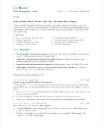 Photography Internship Resume Sample Examples Photographer Freelance
