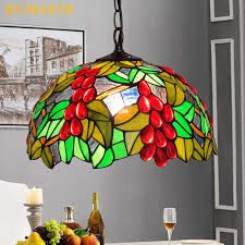 12 Inch American Pastoral Red Grape Stained Glass Pendant Light Living Room Dining Lamp Bedroom