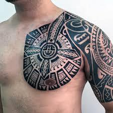 Tribal Cross Guys Shoulder Tattoos