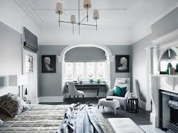 elegantes schlafzimmer in grautörnen mit bild kaufen