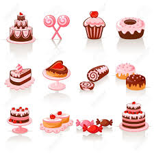 Sweet pastry icons Stock Vector
