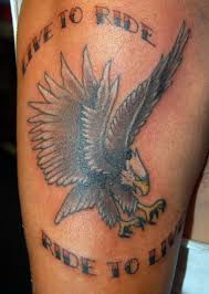 Nice One Live To Ride And Eagle Tattoo Design Make On Upper Sleeve