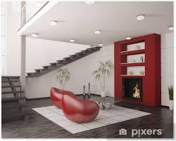 modern interior wohnzimmer mit kamin und treppe 3d render poster