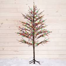 NEW GE 5 Ft Pre Lit Winterberry Brown Artificial Christmas Tree With LED Lights