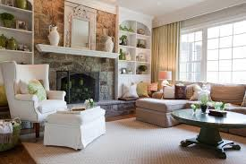 fireplace hearth stone living room traditional with area rug built