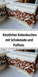 köstlicher kokoskuchen mit schokolade und puffreis