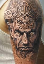 Tribal Aztec Tattoo On Shoulder
