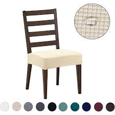 Dining Chair Covers(4 Pack) - Water Repellent,Easy To Install,High Stretch  - Dining Room Chair Seat Slipcover/Protector/Shield For Dog Cat Pets,Beige Summerhill Collection Velvet Plush Ding Chair Covers 3d Pattern Spandex Stretch Short Seat Slipcovers Pique Slipcover Trendy Slipcover Removable Cover Yisun Tile Good Looking Black Cushions For Room Chairs Chair Banquet Ding Covers Table Home Design Ideas How To Make Out Of Pillowcases Simplicity Interesting Leather Details About 2pcs Onepiece Pu Lace Waterproof E7t6