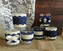Navy Blue And Ivory Rustic Burlap Lace Covered 6 Votive Tea Candles Wedding Bridal Shower Birthday Home Decor