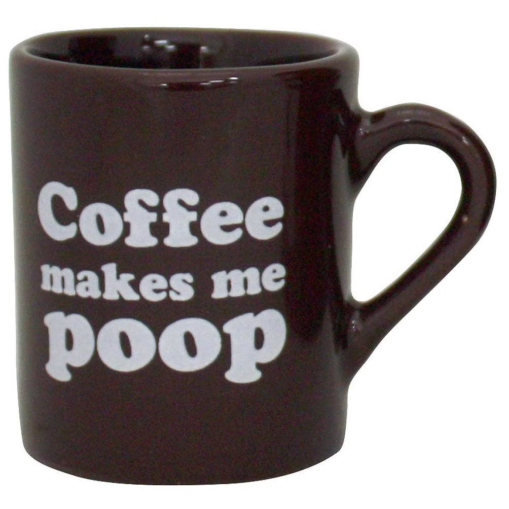 Island Dogs Coffee Makes Me Poop Coffee Mug - 16oz, Dark Brown