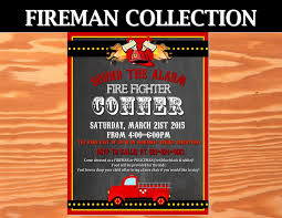 FIREMAN Birthday - Fire Fighter INVITATIONS - Fireman Party- Fire ...