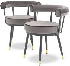 casa padrino luxus esszimmerstuhl set grau schwarz messing 66 x 59 x h 70 cm esszimmerstühle mit edlem samtstoff esszimmer möbel