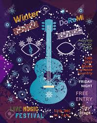 Template Poster Design With Acoustic Guitar Silhouette Idea For Seasonal Winter Live Music Festival Show