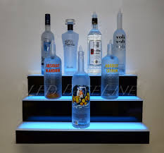 Led Bottle Rack Bar Shelf 3 Step Wall Mount Home Liquor Display Three Tiered
