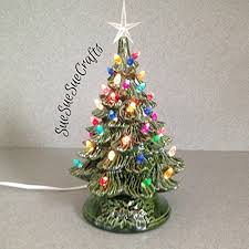 Ceramic Christmas Tree 11quot Tall Decoration Vintage Style Holiday Lighted Green Glaze