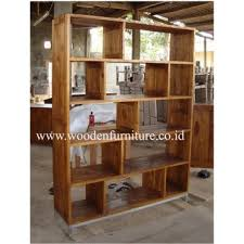 Teak Minimalist Book Case Rustic Showcase Contemporary Shelves Display Cabinet Office Furniture Home