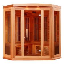 dynamic saunas chambery 3 person corner canadian red cedar far
