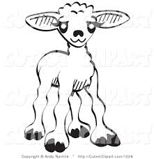 Vector Clip Art Of A Coloring Page Little Baby Lamb