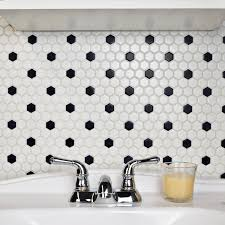 somertile hex matte white with black dot porcelain