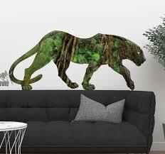 wandtattoo wildes tier panther mit dschungelprint