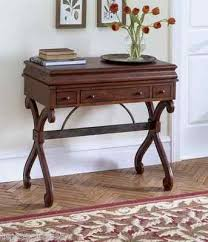 Writing Desk Wood British Colonial Campaign Style Decor Office Computer