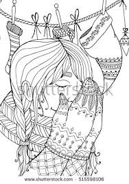 Vector Christmas Illustration Zentangl Girl In Scarf Doodle Drawing Coloring Book Anti Stress For