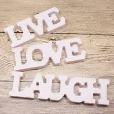 3 teiliges schriftzug set live laugh holz dekoschrift