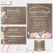 Wood Wedding Suit Invitation RSVP Card Rustic Weeding DIY Rusticfloral Printable