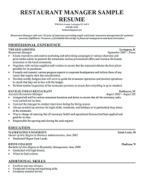 Restaurant Manager Resume Template 62 Images Sample