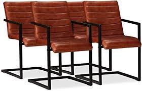 vidaxl 4x esszimmerstuhl echtleder braun küchenstuhl freischwinger stuhl