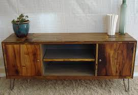 Mid Century Modern Rustic Media Console Style With Shelves And Hairpin Legs On Fluffy Rug