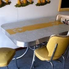 Vintage Yellow And Gray Formica Chrome Kitchen Dinette Set