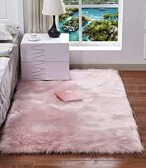 haresle lammfell vorleger schlafzimmer teppich shaggy teppich flauschiger teppich kunstfell teppich waschbarer teppich matte rosa 40x60cm