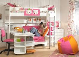 white Loft Beds For Girls with desk underneath at stores